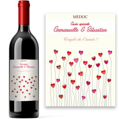 Bouteille de vin coeurquelicot personnalisée
