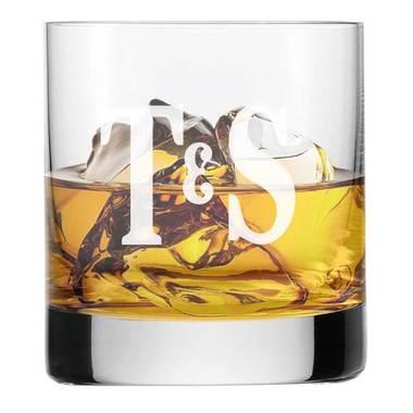 Verre à whisky personnalisé deux lettres