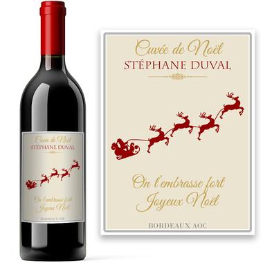 Bouteille de vin de Noël personnalisée