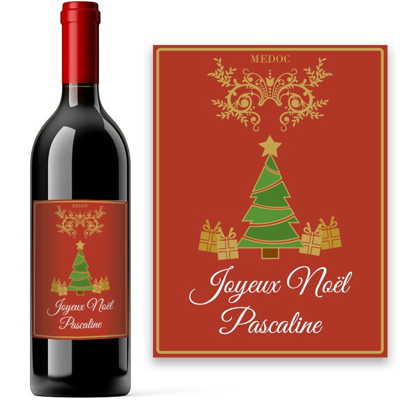 Bouteille de bordeaux avec tiquette de no l personnalis e for Bouteille de vin personnalisee montreal