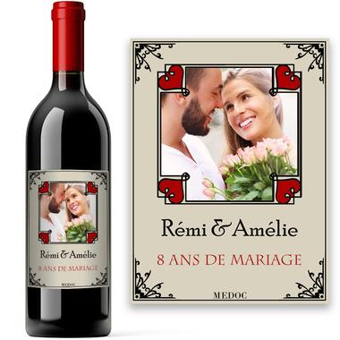 Bouteille de vin personnalisée romantique