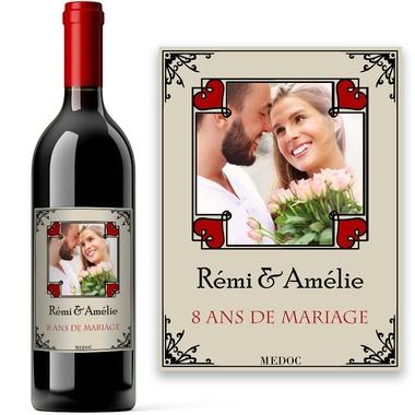 Bouteille avec étiquette photo romantique