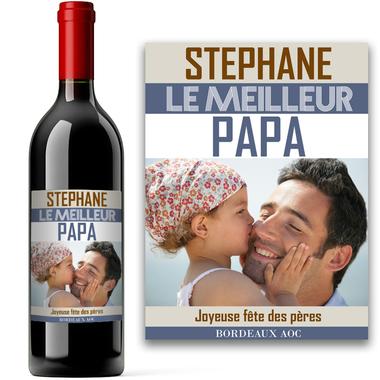 Bouteille avec étiquette personnalisée photo papa