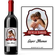 Bouteille de vin avec son portrait imprimé