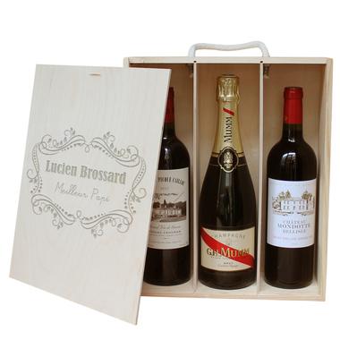 Coffret À vin 3 bouteilles personnalisé baroque