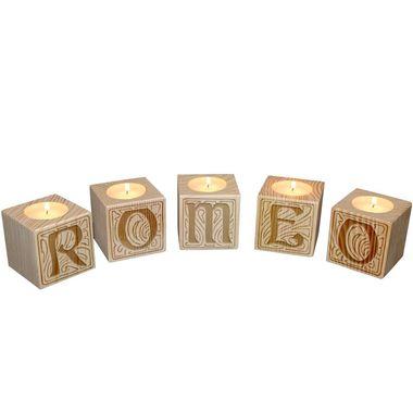 Bougeoir petits cubes en bois gravé lettres