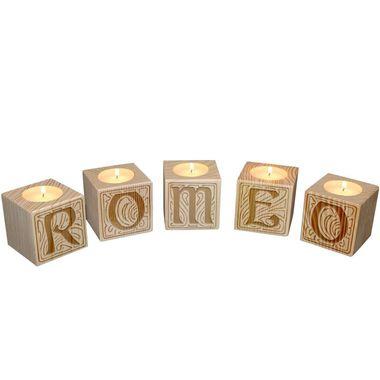 Bougeoir en bois petits cubes lettres
