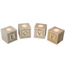 Bougeoir cube en bois lettres