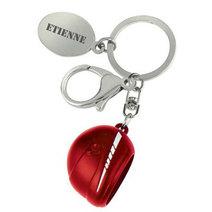 Porte-clés casque moto rouge gravé