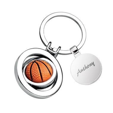 Porte-clés ballon de basket médaille gravée