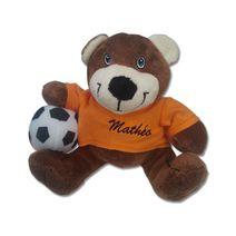 Petit ourson footballeur personnalisé orange