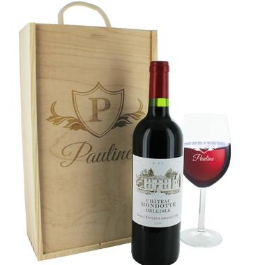 Caisse à vin et verre personnalisés écusson