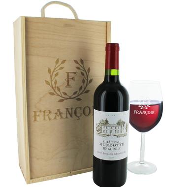Coffret Cadeau vin et verre personnalisés lauriers