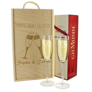 Coffret flûtes et bouteille de champagne gravés
