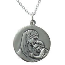 Médaille de baptême Madone gravée argent