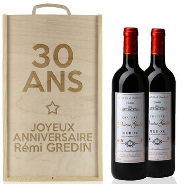 caisse vin anniversaire 2 bouteilles. Black Bedroom Furniture Sets. Home Design Ideas