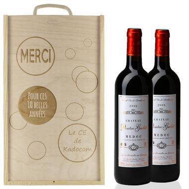 Caisse à vin 2 bouteilles bulles gravées