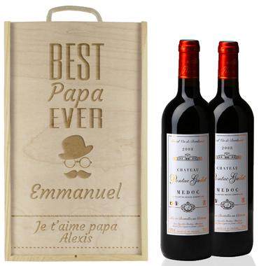 Caisse à vin 2 bouteilles papa gravées