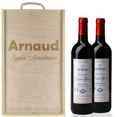 Caisse à vin 2 bouteilles texte gravées
