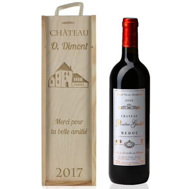 Caisse à vin bouteilles classique gravée