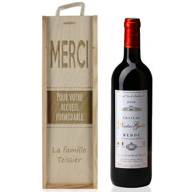 Caisse a vin graphique gravée
