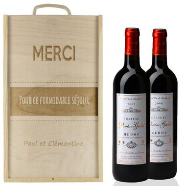 Caisse à vin 2 bouteilles avec graphique gravée