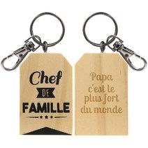porte clés en bois chef de famille gravé