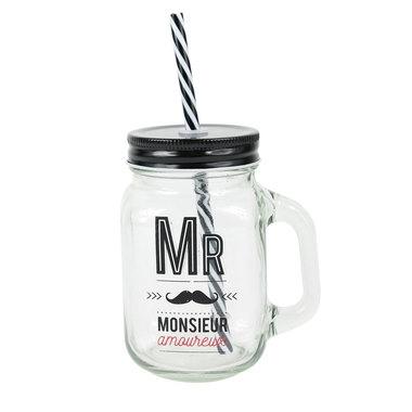 mason jar en verre monsieur amoureux