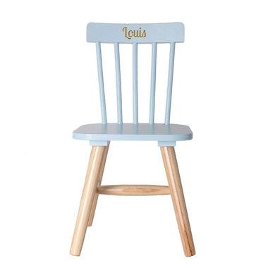 chaise pour enfant bleue face gravee