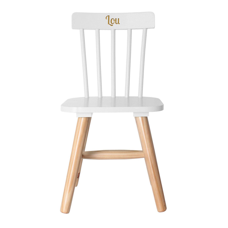Chaise pour enfant blanche grav e - Chaise enfant personnalise ...