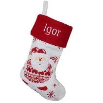 Botte de Noël blanche père noël effet tricot