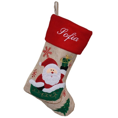 Botte de Noël lin design Papa Noël prénom brodé
