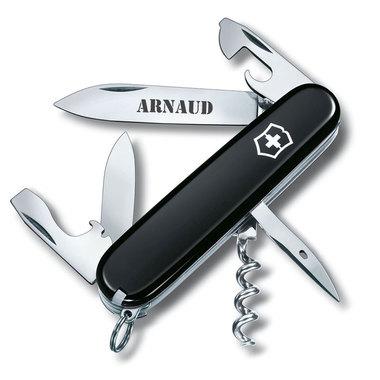 Couteau suisse de poche noir personnalisé