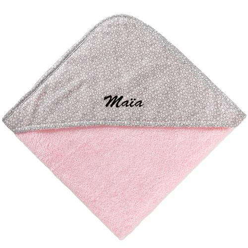 Cape de bain bébé rose brodée avec prénom
