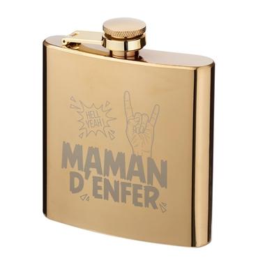"""Flasque dorée gravée """"Maman d'Enfer"""""""