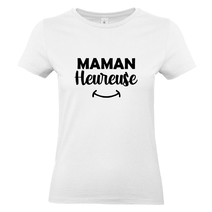 T-shirt femme blanc Maman heureuse