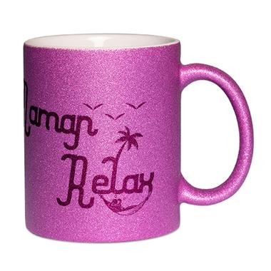 Mug à paillettes violet Maman Relax