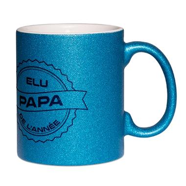 Mug à paillettes bleu Papa de l'année
