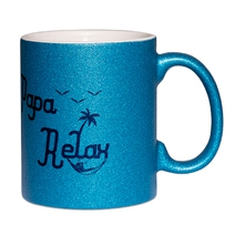 Mug à paillettes bleu papa relax