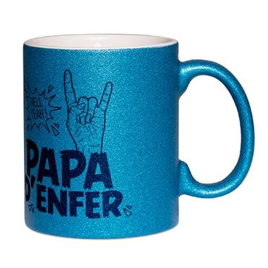 Mug à paillettes bleu papa d'enfer