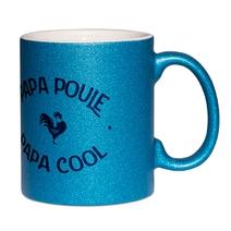 Mug à paillettes bleu papa poule cool