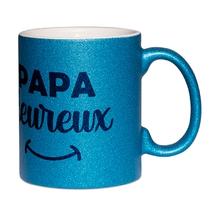 Mug à paillettes bleu papa heureux