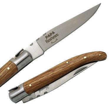 Couteau Laguiole papa heureux Frêne