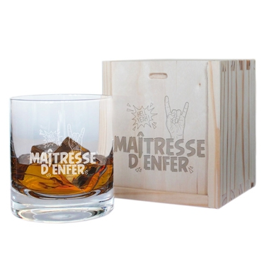 Verre à whisky et son coffret Maîtresse d'Enfer