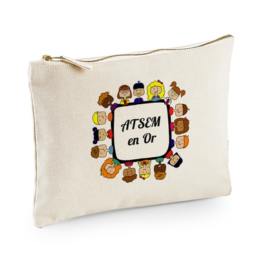 Pochette multi-usage beige ATSEM en or