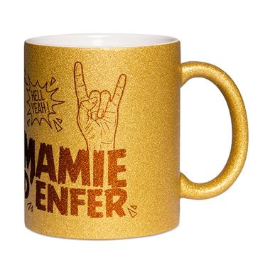 Mug à paillettes doré Mamie d'Enfer