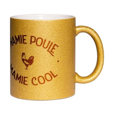 Mug à paillettes doré Mamie Poule Mamie Cool