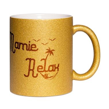 Mug à paillettes doré Mamie Relax