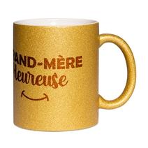 Mug à paillettes doré Mamie heureuse