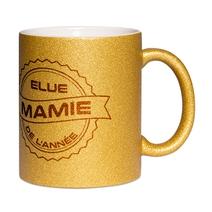 Mug à paillettes doré Mamie de l'année